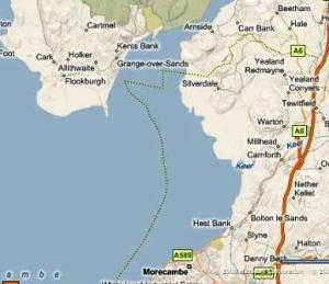 Route was from Hest Bank to Grange over Sands